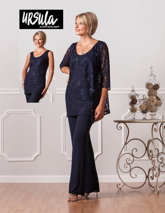 ecb1571b14 Ursula of Switzerland 11345 Formal Pant Suit  French Novelty