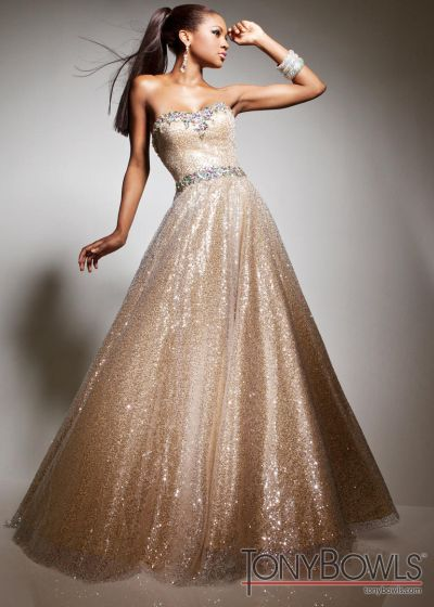 7a6364cb174 Tony Bowls Le Gala 113513 Gold Sequin Formal Dress  French Novelty