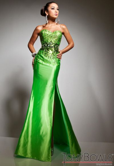 Tony Bowls Le Gala Lime Green Formal Dress 113526 French Novelty