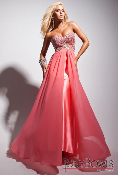 Tony Bowls Le Gala Coral Velvet Chiffon Formal Dress 113540 French