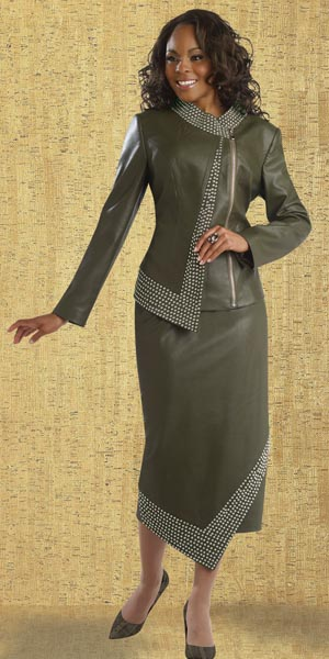 Donna Vinci 11359 Womens Faux Leather Suit French Novelty