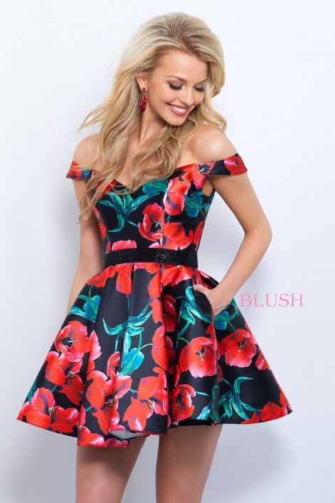 Short Homecoming Dresses with Flowers