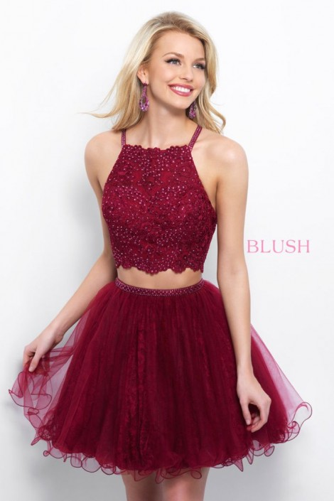 Blush 11361 Beaded Lace 2 Piece Short Homecoming Dress: French Novelty