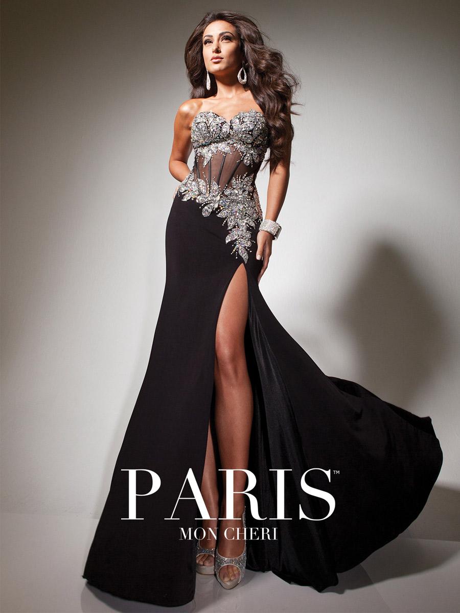 Mon Cheri Paris 113737 Sheer Corset Evening Gown: French Novelty