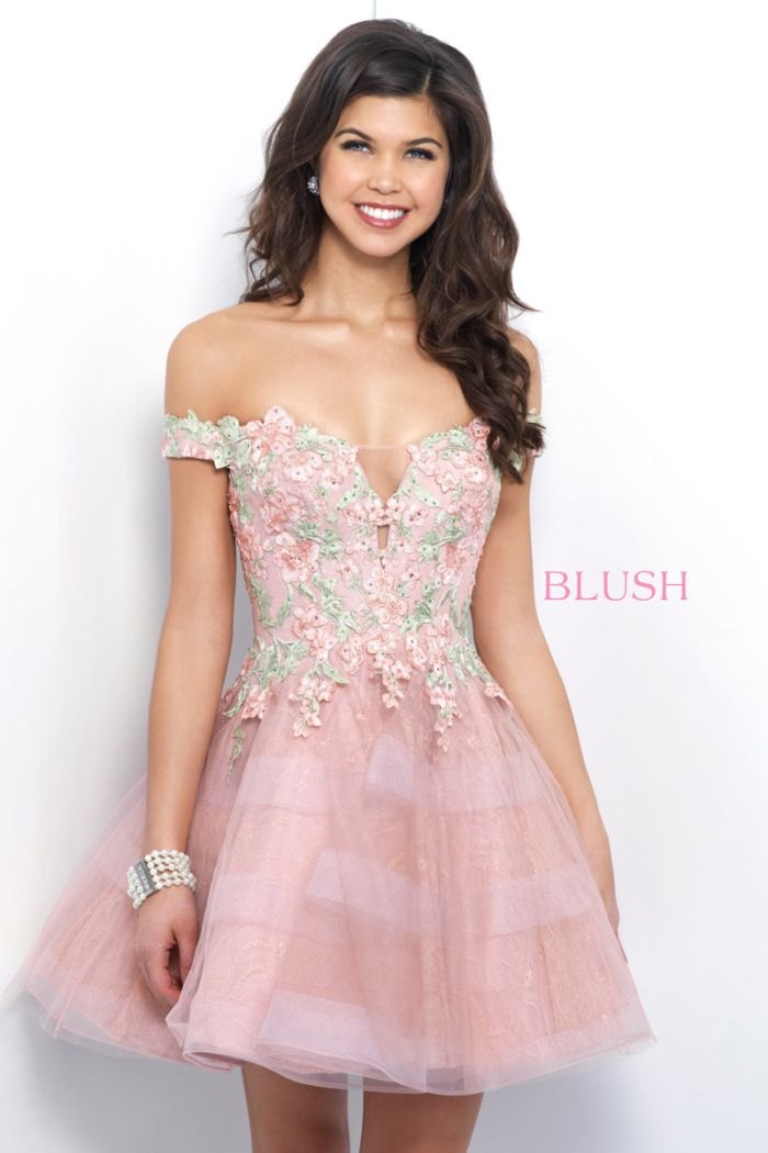 40e551115e47 Blush 11382 Off Shoulder Short Floral Applique Homecoming Dress: French  Novelty