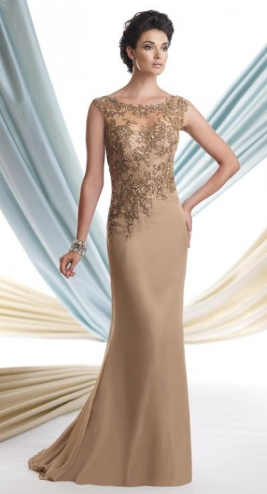 891f1a98012 Size 16 Taupe Montage 113920 Mother of the Bride Dress with Shawl  French  Novelty