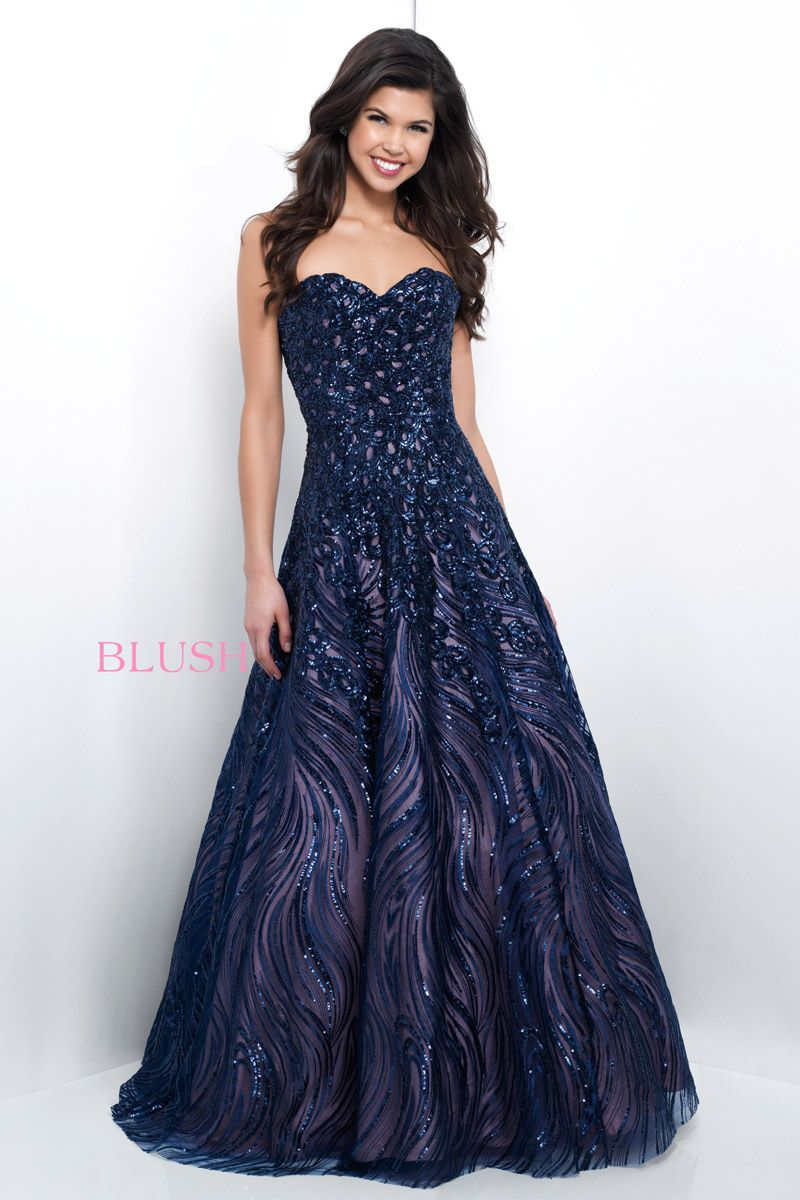 Blush Prom 11395 Sequin Evening Dress: French Novelty