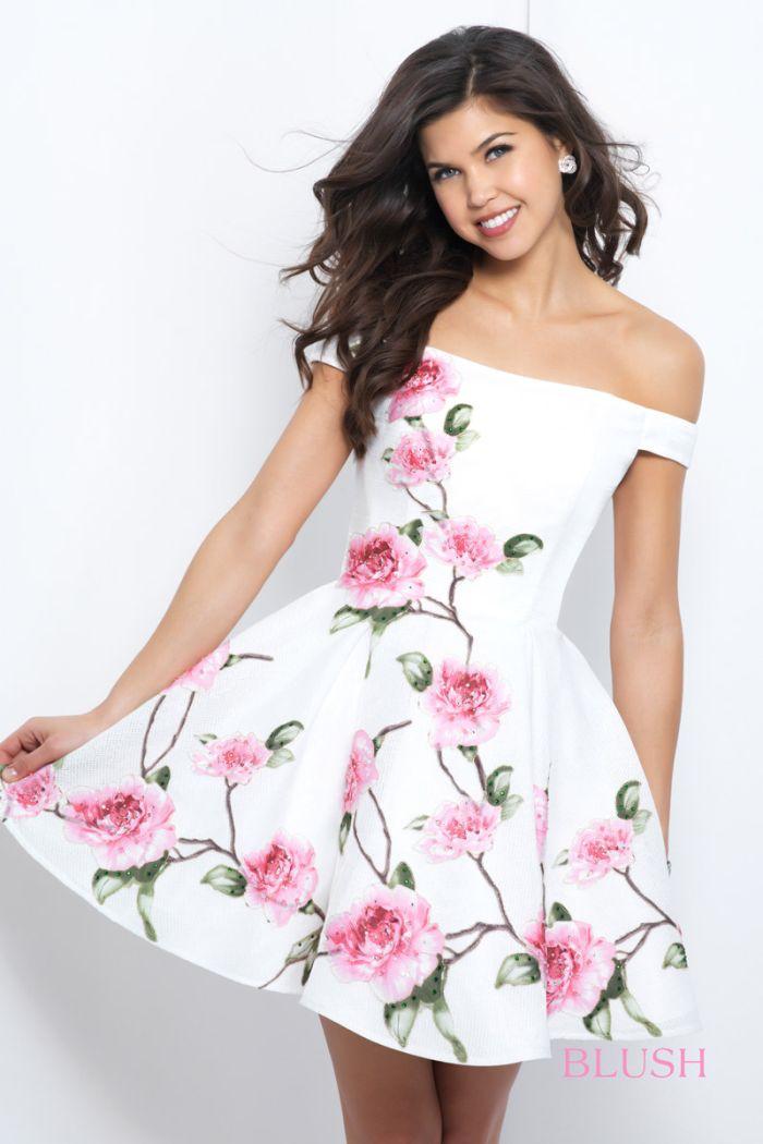 Blush 11400 Off The Shoulder Short Floral Homecoming Dress