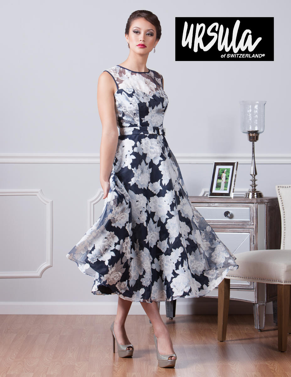 78bfda0ee34 Ursula 11424T Tea Length Floral Print MOB Dress  French Novelty