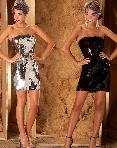 Abendkleid kurz - MacDuggal Couture Strapless Pailletten Cocktailkleid