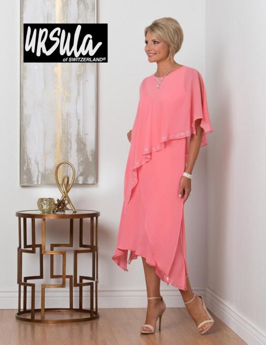 786cde2fc2f Ursula 11450T Asymmetric Draped Tea Length Dress  French Novelty