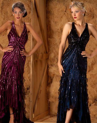 abendkleid lang - MacDuggal Couture Perlen Halfter Tiefer Hals Abendkleid