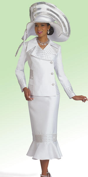 Donna Vinci 11485 Womens Pure White Church Suit French