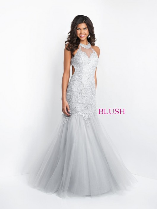 Size 4 Silver Blush 11504 Metallic Lace Mermaid Prom Dress: French ...