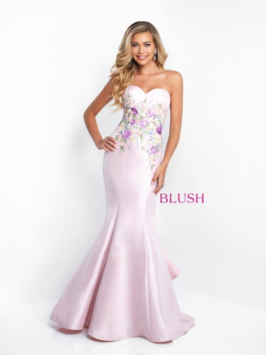 bc7b2f8cb608 Blush 11505 Floral Shimmer Prom Dress with Flounce: French Novelty