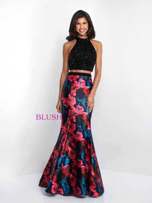 d250be1124152 Blush 11509 Floral Print 2 Piece Prom Dress: French Novelty