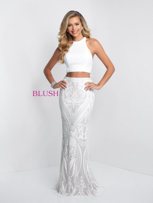 Blush 11522 Sequin 2 Piece Prom Dress: French Novelty
