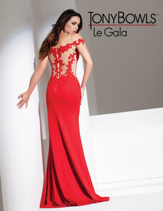 Tony Bowls Le Gala 115532 Off Shoulder Scuba Fabric Gown French Novelty