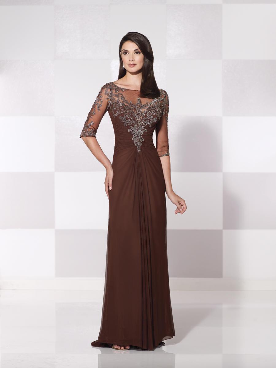 Cameron Blake 115607 Sheer Three Quarter Sleeve Gown