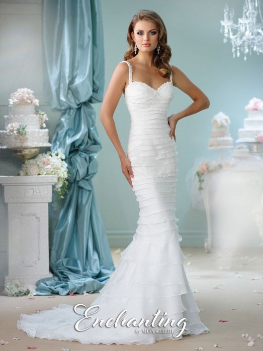 7677dc5564db Enchanting by Mon Cheri 116121 Tiered Mermaid Destination Wedding Gown: French  Novelty