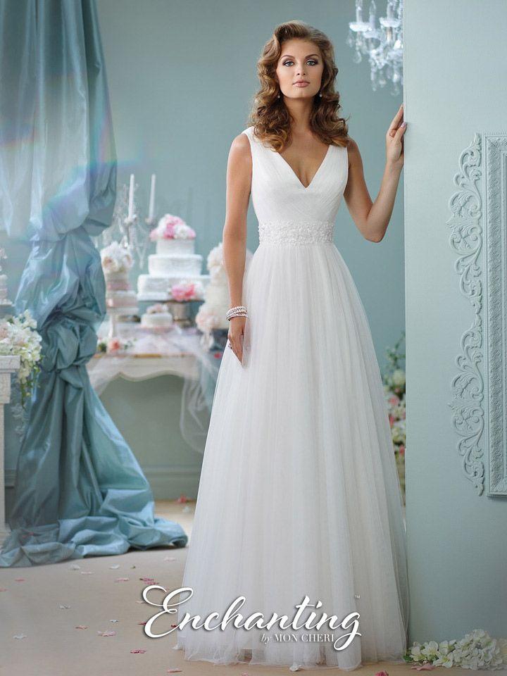 Enchanting by mon cheri 116133 v neck destination bridal for Mon cheri wedding dress prices