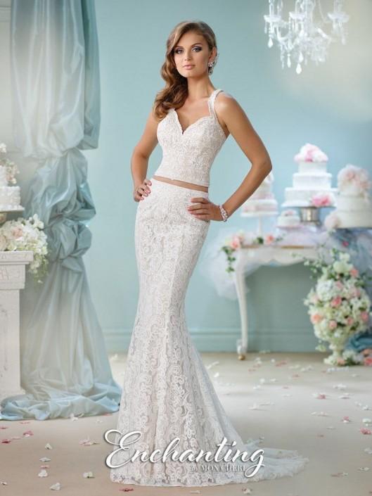 Mon Cheri Enchanting 116135 Lace 2pc Informal Wedding Gown: French ...
