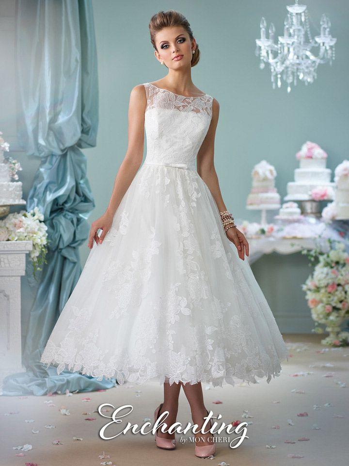 mon cher enchanting 116136 tea length lace casual wedding