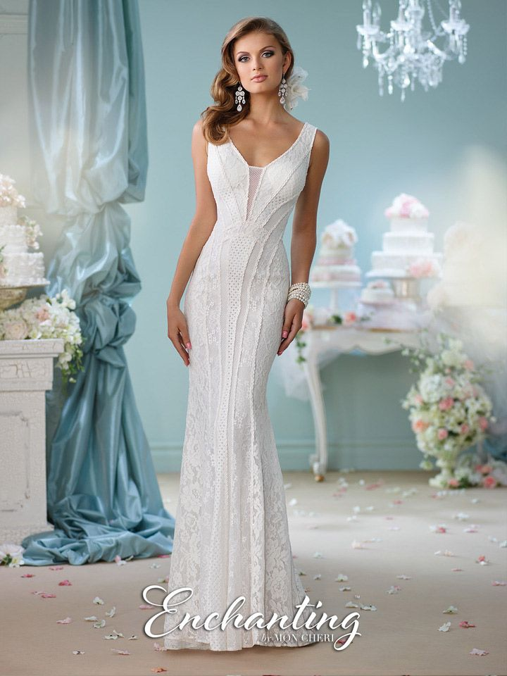Enchanting By Mon Cheri 116138 Patchwork Casual Bridal Gown French Novelty