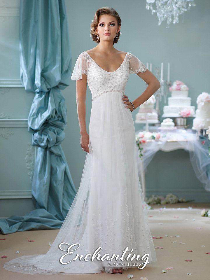 Mon cheri enchanting 116139 flutter sleeve informal for Mon cheri wedding dress prices