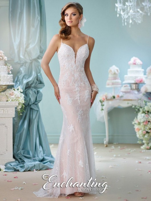 Enchanting by Mon Cheri 116144 Beaded Lace Informal Bridal Gown ...