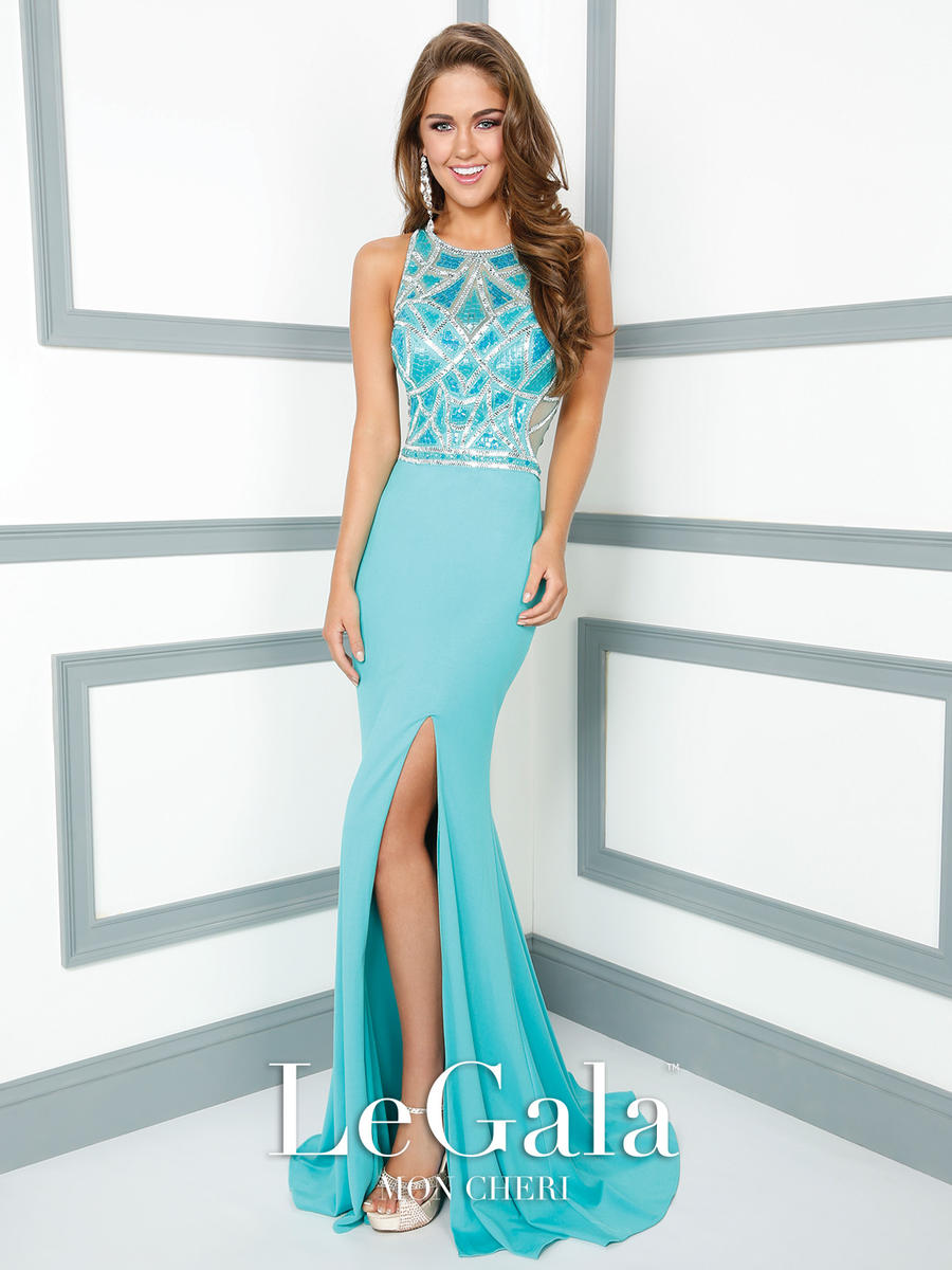 Mon Cheri Le Gala 116536 High Neck Jersey Gown: French Novelty