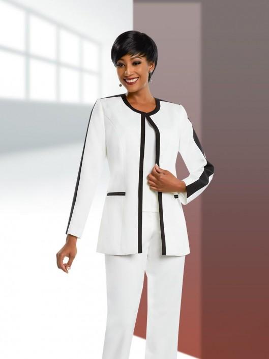 70b726138c2 Ben Marc Executive 11655 Ladies Contrast Trim Pant Suit  French Novelty