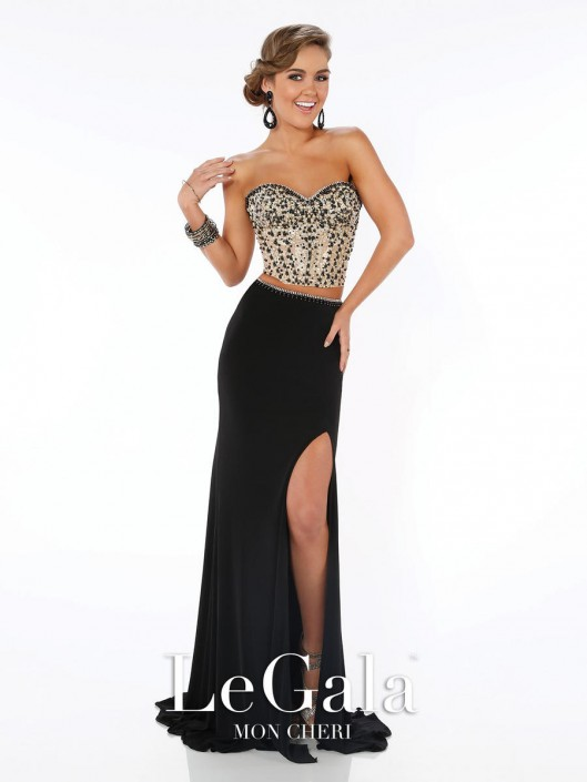 Size 2 Black-Gold Mon Cheri Le Gala 116564 Two Piece Prom Gown ...