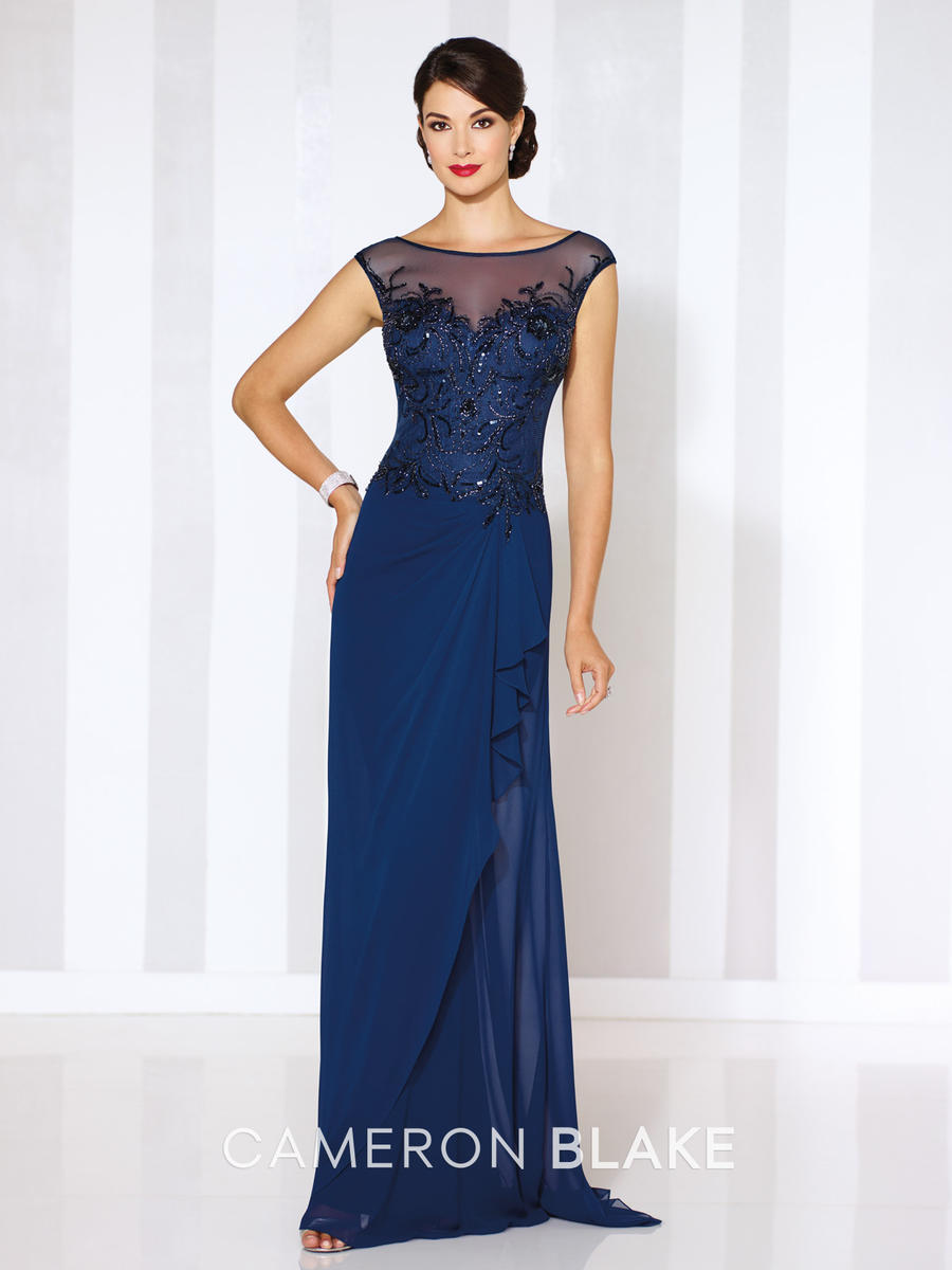 Size 16 navy blue cameron blake 116652 illusion evening for Immediate resource wedding dresses