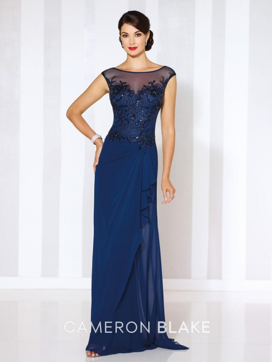 Size 16 Navy Blue Cameron Blake 116652 Illusion Evening Gown French