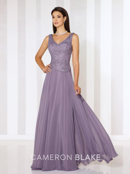 Cameron Blake 116654 V Neck Evening Gown: French Novelty