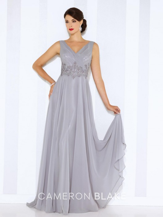 Cameron Blake 116665 A-Line Evening Gown: French Novelty