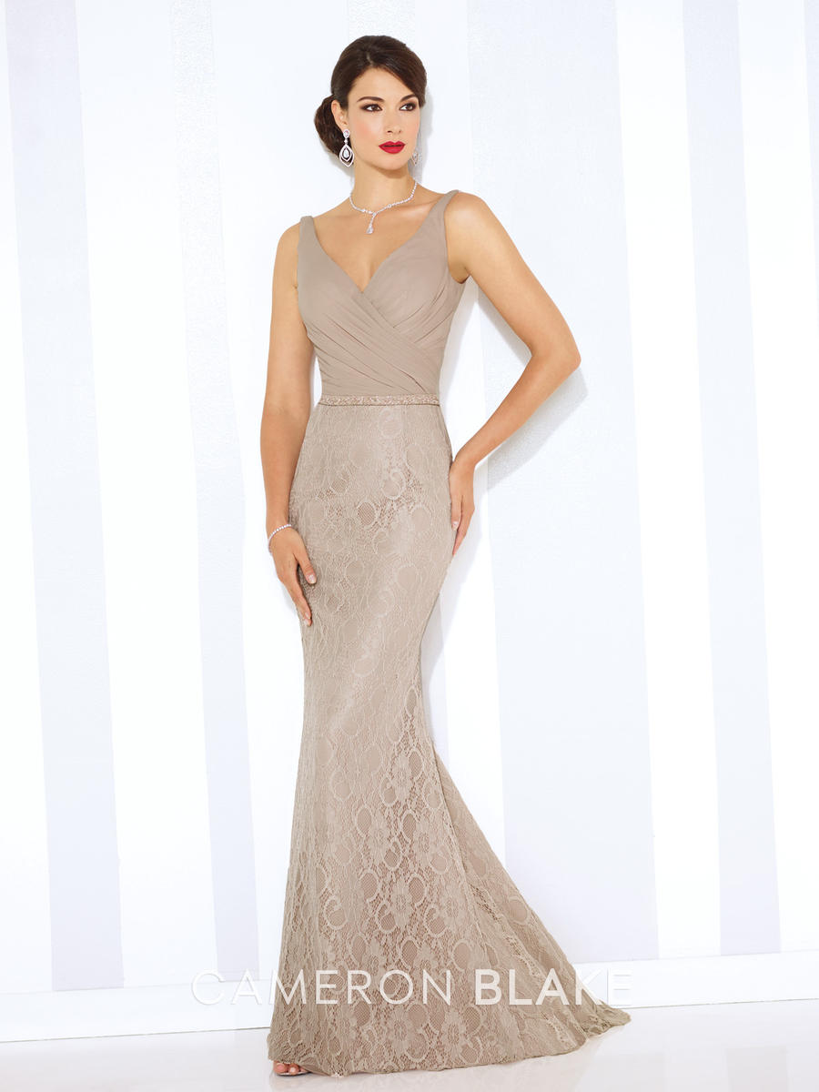 Cameron Blake 116668 Fit and Flare Evening Gown: French Novelty