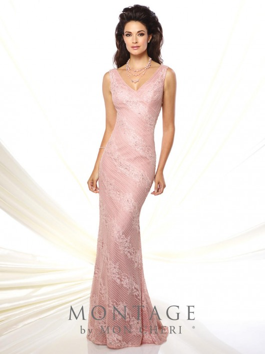 126c4cb7addf Montage 116931 V Neck Fit and Flare Formal Gown: French Novelty