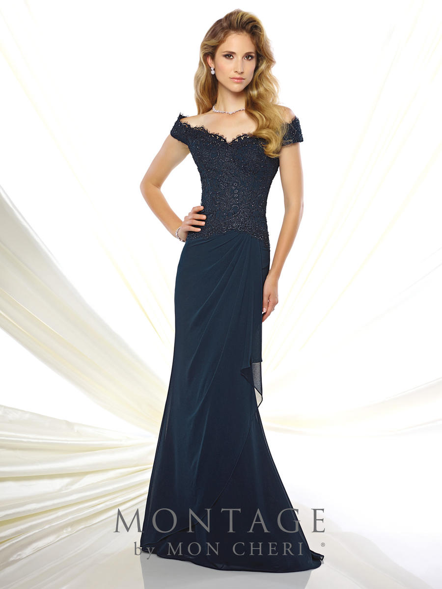 Montage 116937 Off Shoulder Dropped Waist MOB Gown: French Novelty