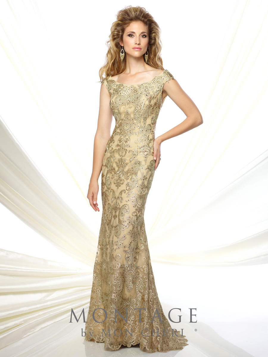 Montage 116948 Metallic Lace Fit and Flare Gown - French Novelty