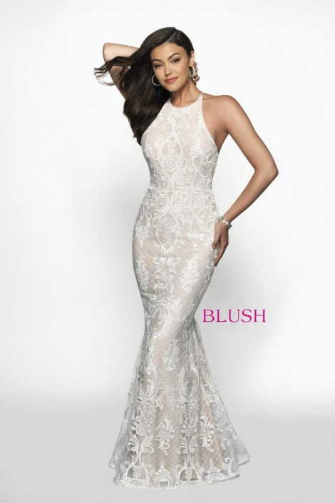 9ac0b7267cf Blush 11703 Shimmering Beaded Lace Prom Dress  French Novelty