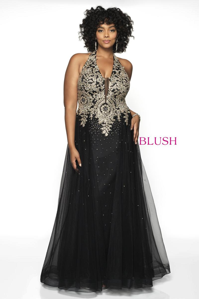 Size 22W Black-Gold Blush Too 11706W Metallic Lace Plus Size Gown