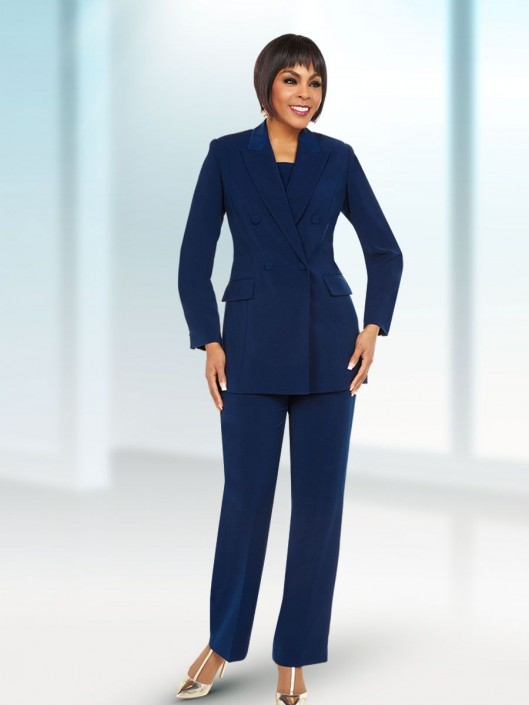 cc8a1ed2846 Size 6 Navy Ben Marc 11711 Mother of the Bride Pant Suit  French Novelty