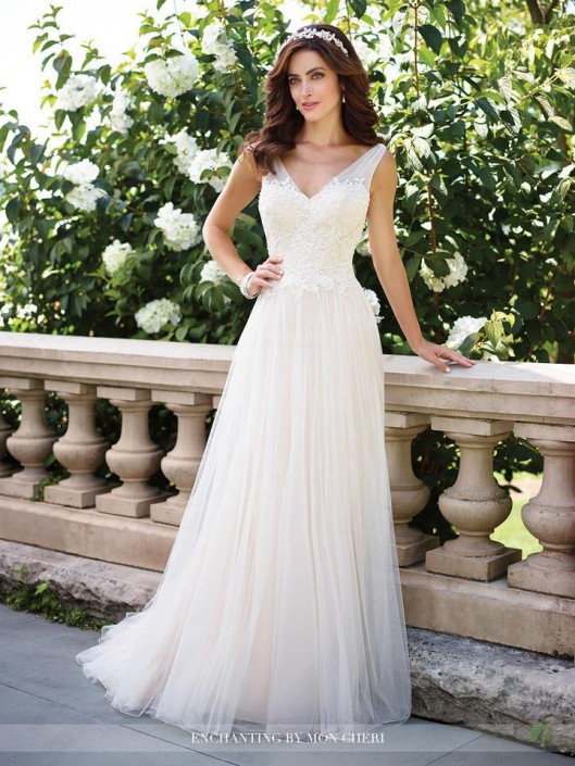 Enchanting by Mon Cheri 117176 Casual V Neck Wedding Gown: French ...