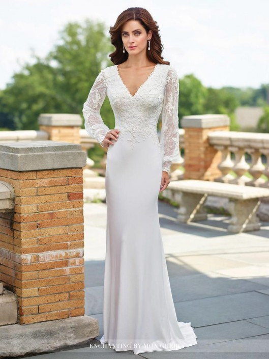 Enchanting By Mon Cheri 117183 Sheer Long Sleeve Wedding Gown