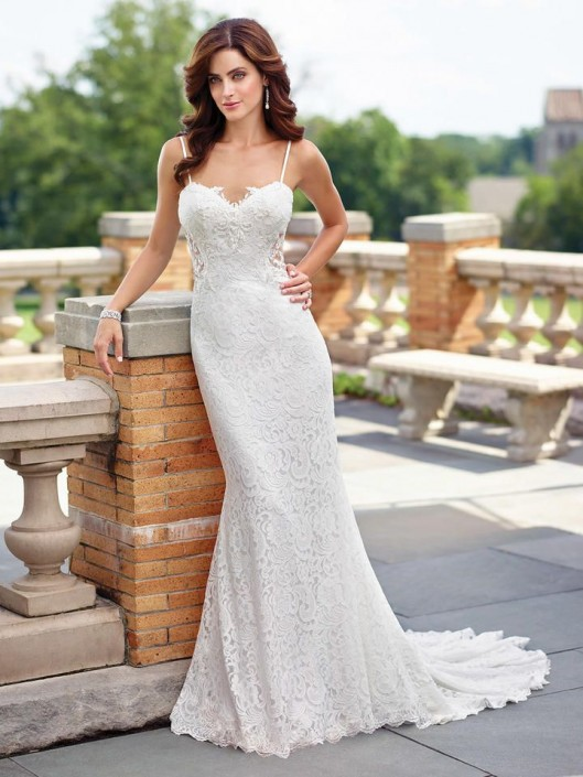 Enchanting By Mon Cheri 117190 Lace Fit And Flare Wedding Gown