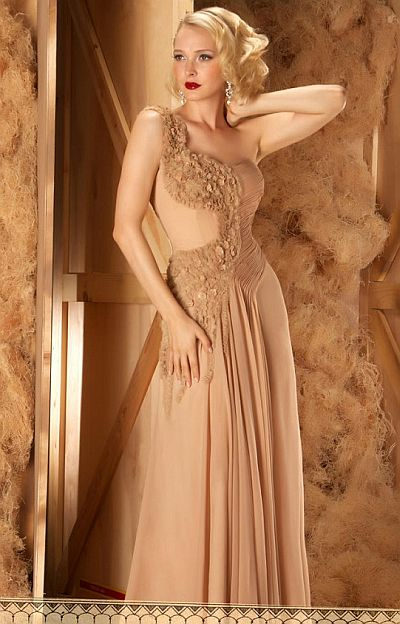 abendkleid lang - Elegante One-Shoulder Abendkleid