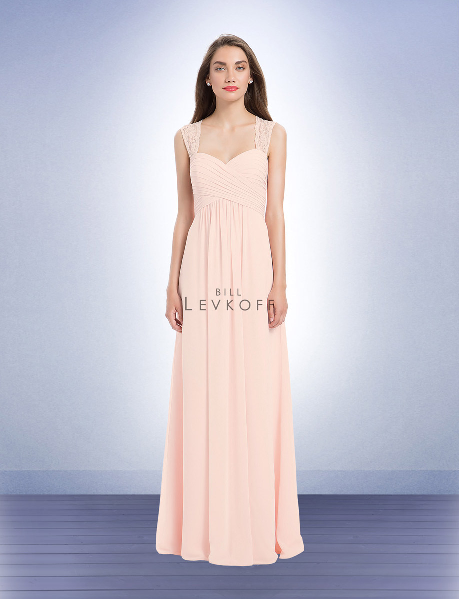 Bill levkoff 1173 bridesmaid gown with wide straps french novelty