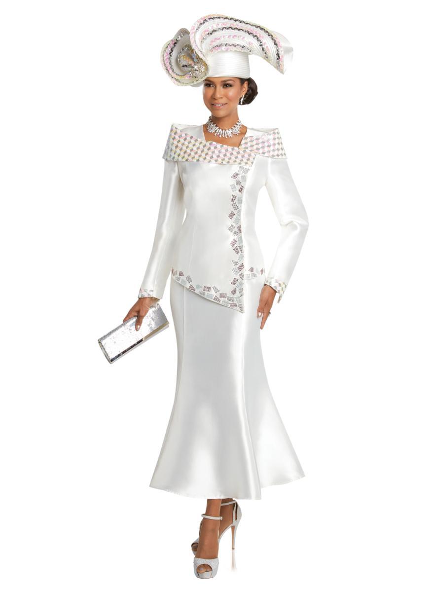 Donna Vinci 11736 Ladies Asymmetrical Church Suit French